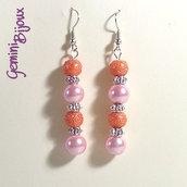 Orecchini perle rosa e arancio