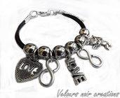 bracciale multicharms simbolo infinito love cupido cuore laccio caucciù