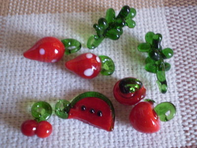 8 Perline Fruttini in Vetro