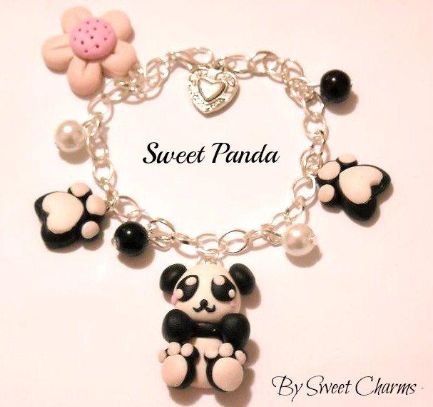 Bracciale tenero panda in fimo
