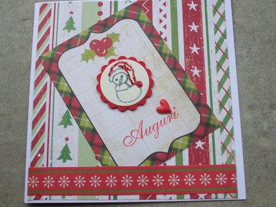 Biglietto natalizio tag con pupazzo glitter
