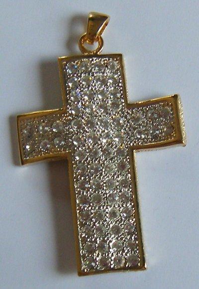 ciondolo croce in metallo dorato e strass swarovski