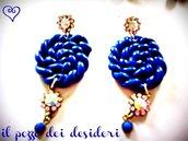 Orecchini ghirigori color blu elettrico fimo e perline