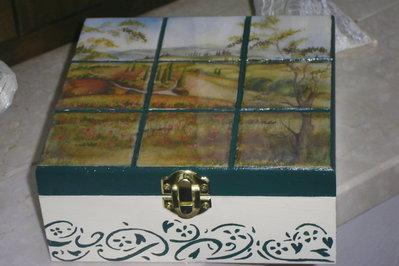 scatola - portagioie con paesaggio