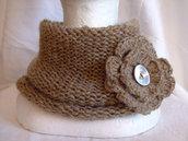 Scaldacollo liquirizia di lana,senza cuciture con spilla,accessori donna