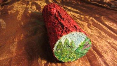 Ceppo in legno dipinto a mano