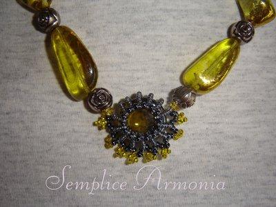 Collana perle giallo e antracite