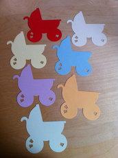 Carrozzina bebè - carriage - in cartoncino fustellato - abbellimenti