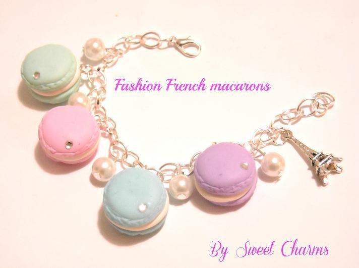 Bracciale charm fimo french macarons paris