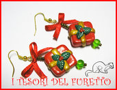 """Orecchini """"Natale Pacchetti  Rossi"""" fimo cernit 2012 idea regalo kawaii"""