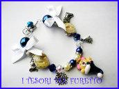 """Bracciale """"Fucucù Orsetto"""" Natale 2012 blu fimo cernit idea regalo"""