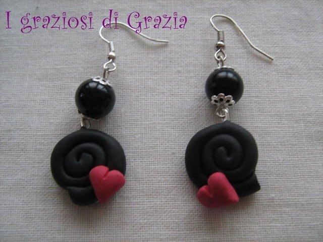orecchini liquirizia con perle