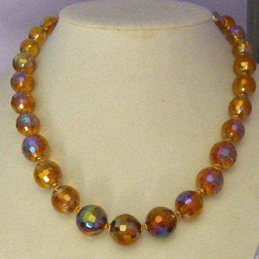 collana  girocollo con perle in  vetro