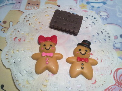 Cabochon mr and mrs Gingy + biscotto