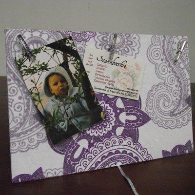 Portafoto in carta naturale con glitter  viola