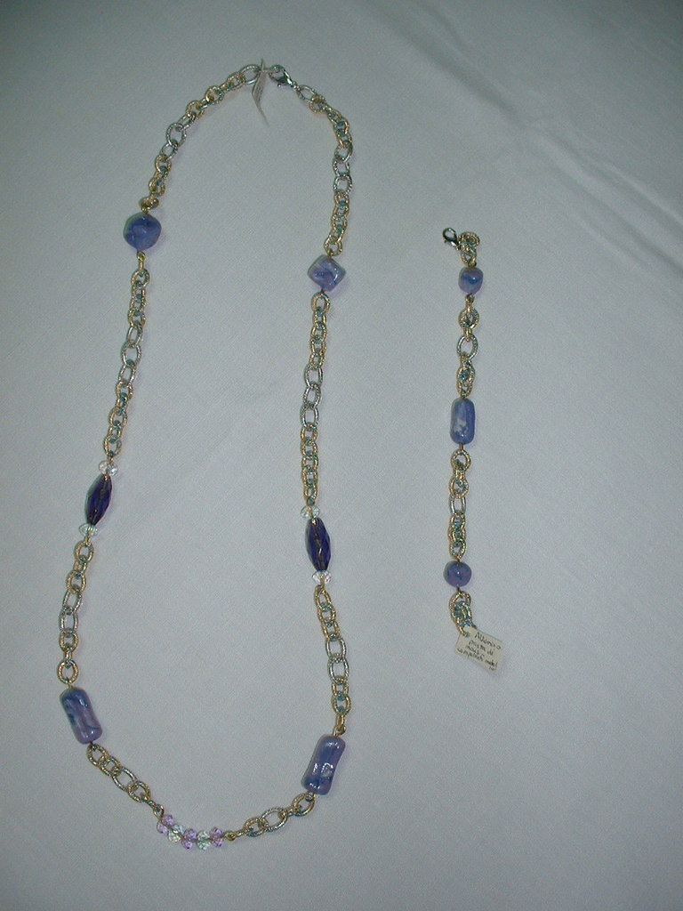 Collana + bracciale oro/lilla/argento