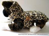 Burberry Style Dog - cappottino a crochet uncinetto per cani o gatti Xsmall