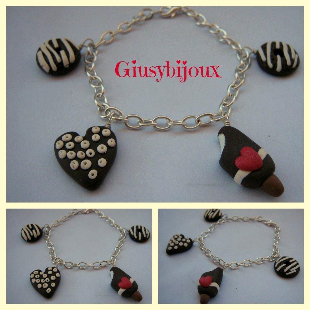 bracciale argentato con cuore e dolci charms al cioccolato in fimo fatto a mano