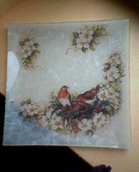 piatto in vetro decoro uccellini