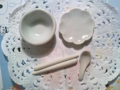 Set 4 pz ceramica bianca
