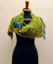 Sciarpa  tessuta su telaio a mano in pura lana verde scuro ORTO BOTANICO  - capo unico