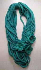 Collana in fettuccia turchese/verde acqua (per Alessandra)