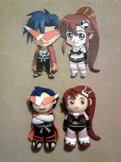 Ciondolo Yoko e Kamina fimo