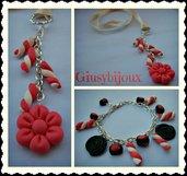 Parure collana con ciondolo fiore thun  più  marshmallowux rosa e braccialetto con charms liquirizia fatto a mano