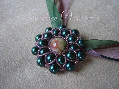Collana agata e perle verdi