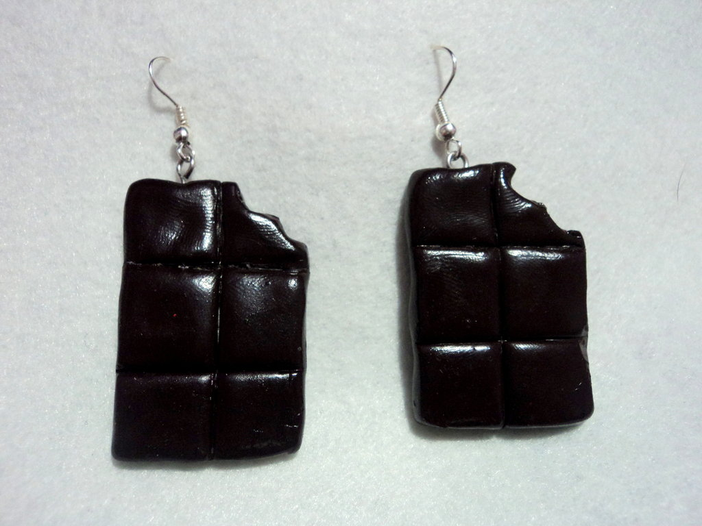 Orecchini a Forma di Barretta di Cioccolato