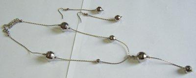 completo collana e orecchini in metallo colore argento
