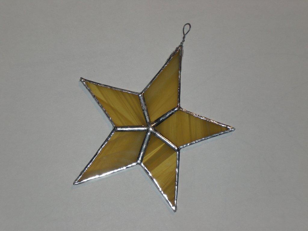 Stella di Natale in vetro giallo per albero