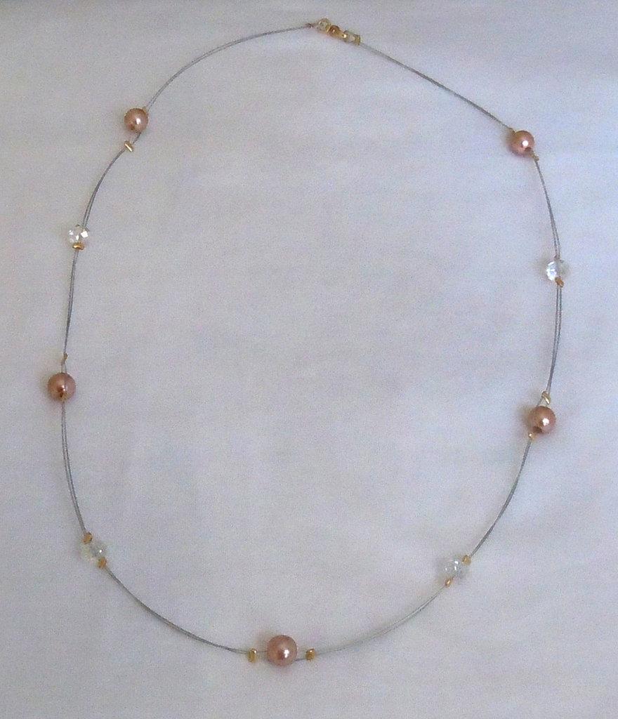 parure collana e bracciale in perle e cristalli su filo metallico