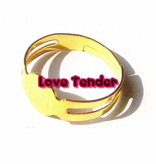 Base per anello con base piatta Nickel Free da 8mm oro