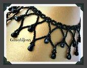 Preziosi principessa collana girocollo cerimonia nero con perle sfaccettate e gocce - gioiello donna  fatto a mano