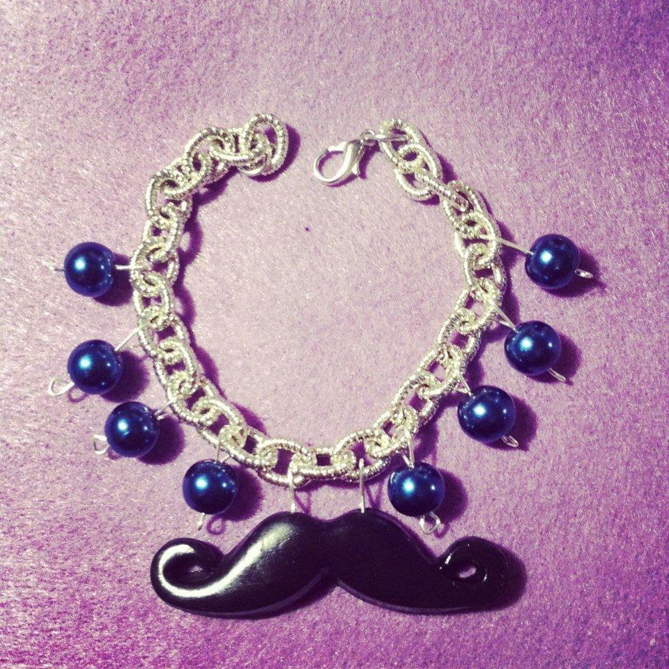 bracciale moustaches con perle