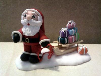 Babbo Natale con slitta e regali fimo