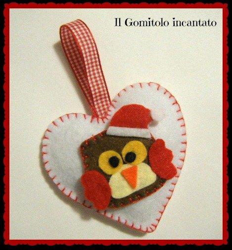 Decorazione Natale cuore con gufetto