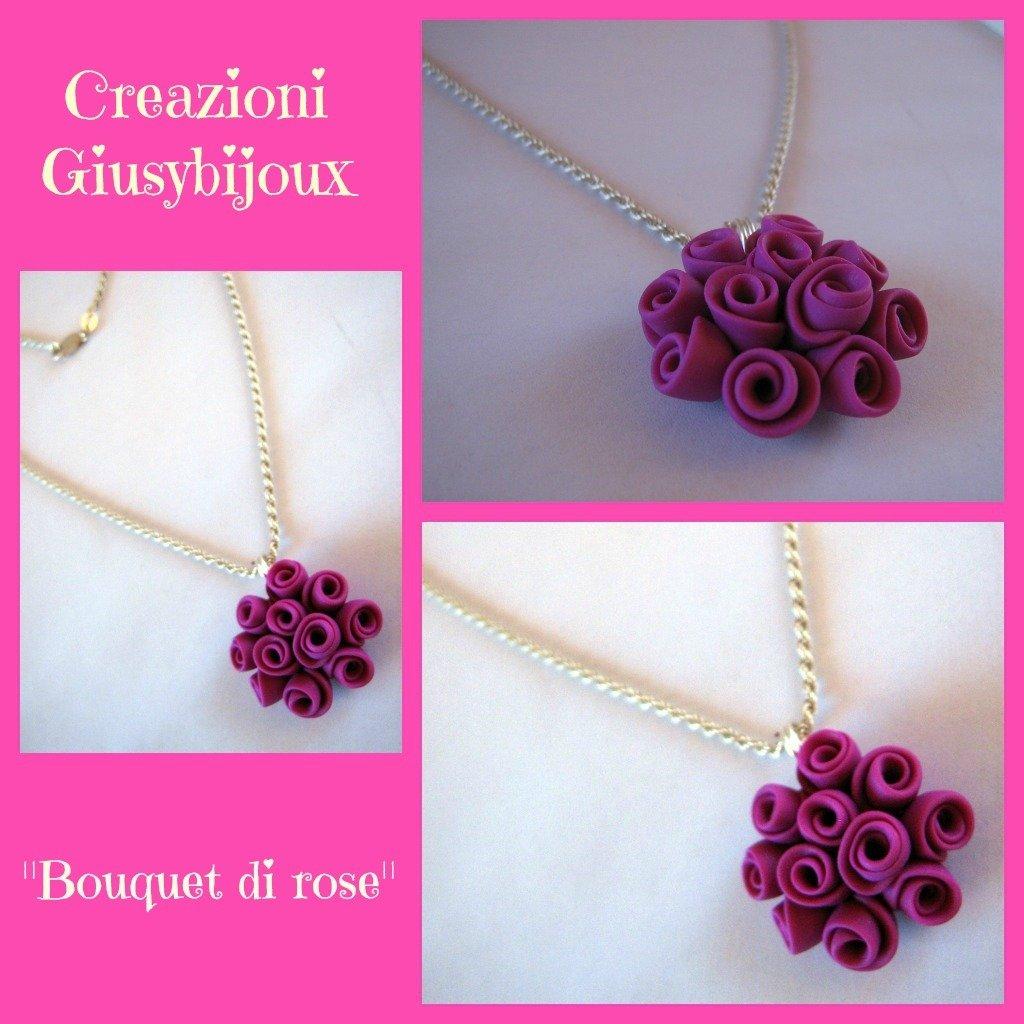 Collana con ciondolo floreale bouquet di roselline rosa fuxia in fimo fatto a mano