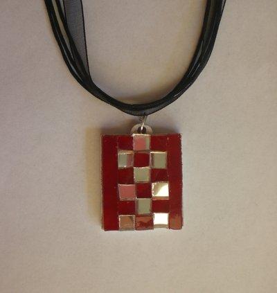 Ciondolo vetro mosaico rosso e specchio