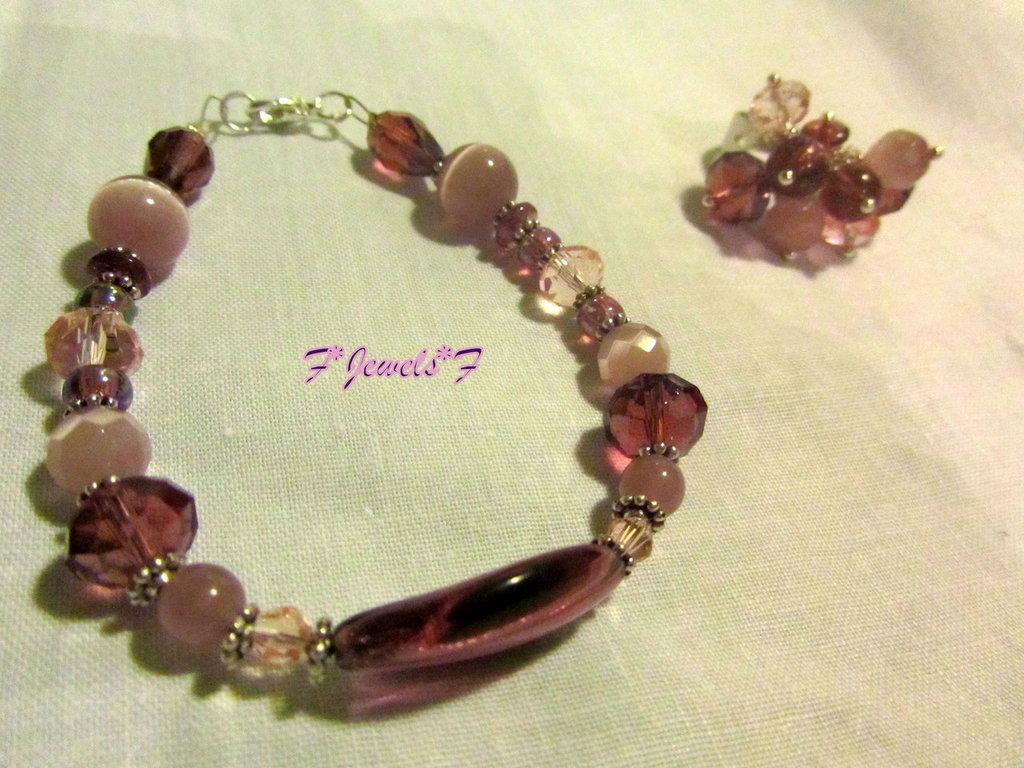 Bracciale mix pietre rosa