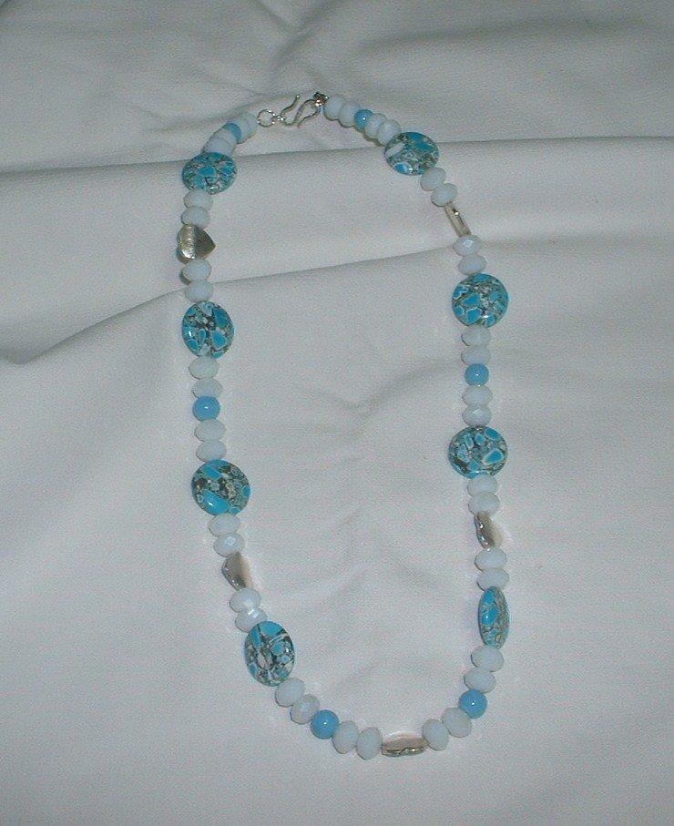 collana bianco/azzurro