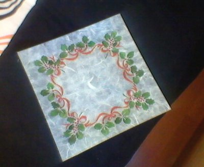 piatto in vetro decoro natalizio