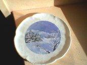 piattino in vetro con paesaggio invernale