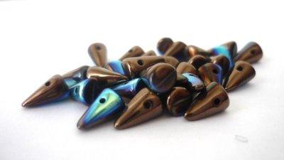 Baby Spike! 5x8 mm  Spike beads in vetro boemo pressato  Jet Bronze AB