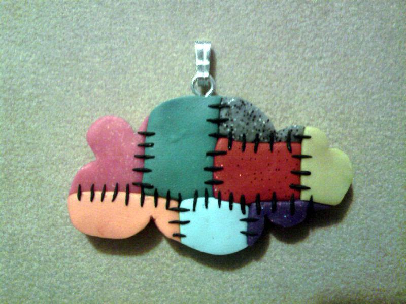 Ciondolo con nuvola patchwork fimo