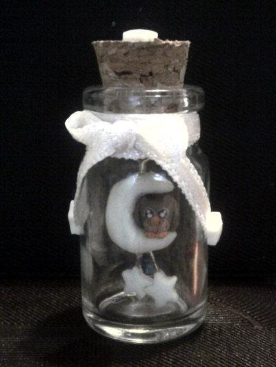 Bottiglietta con gufo su luna fluo fimo