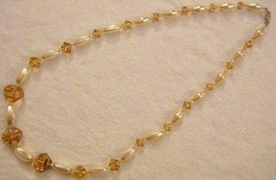 collana lunga con perle in vetro ,vetro di murano e mazzo cristallo