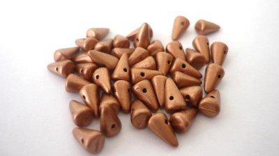 Baby Spike! 5x8 mm  Spike beads in vetro boemo pressato  Matted Bronze  Confezione da 30 pezzi