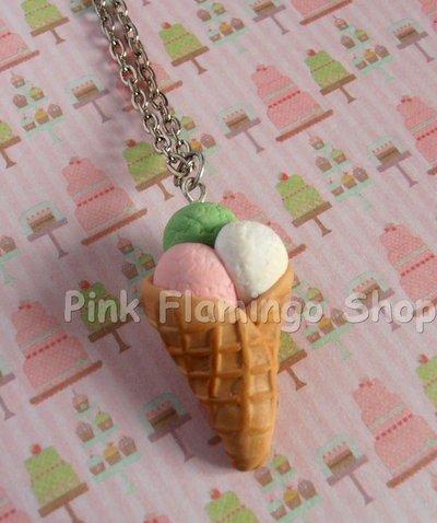 Collana cono gelato in Fimo - handmade kawaii